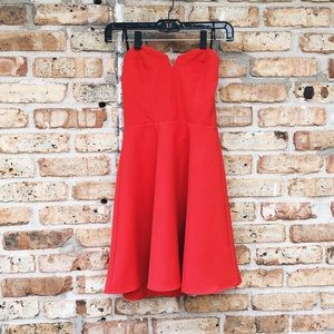H&M Red Strapless Mini Skater Dress Exposed Zipper